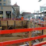 QV-1: Die Baugrube ist mittlerweile fast komplett ausgehoben.