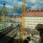 Blick auf die zwei Baustellen der jüngsten Neumarkt-Quartiere von USD und KIB
