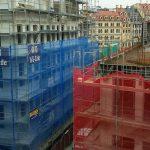 Blick auf die Bausituation von der Städtischen Bibliothek im Kulturpalast (II. OG)