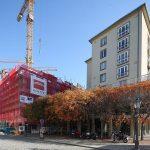 Blick von der Wilsdruffer Straße in die Galeriestraße mit den beiden Baustellen von QV-1 und QVI