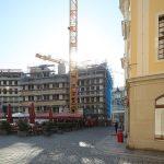 Blick auf die Baustelle vom Quartier VI (USD) zum Jüdenhof zu
