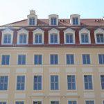 Beim Eckhaus Jüdenhof / Neumarkt wurden die Gerüste komplett abgebaut.