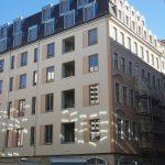 Gerüstabbau in der Frauenstraße bei der (Teil-) Rekonstruktion der Barockfassade vom Chiapponischen Haus