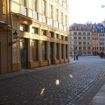 Frauenstraße am Morgen mit Blobel-Eckhaus