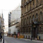 Blick in die Landhausstraße mit der Baustelle des Quartier III/1
